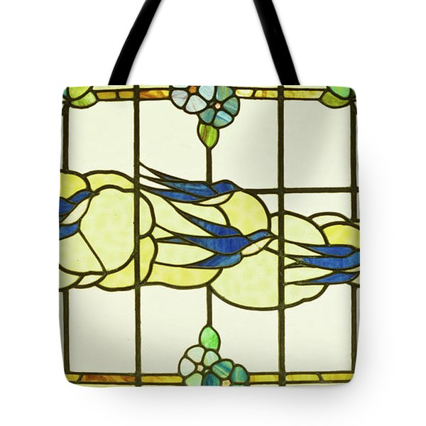 Arts And Crafts Panel Of A Group Of Swallows Before Clouds In A Border Of Flowers Tote Bag
