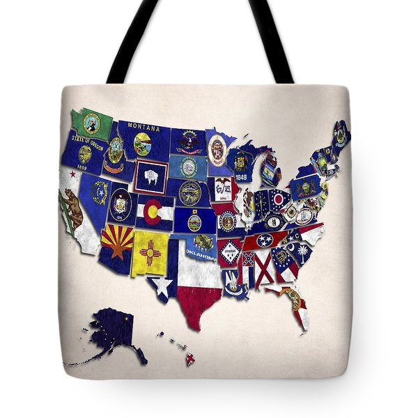 United States Map With Fifty States Tote Bag by World Art Prints And Designs