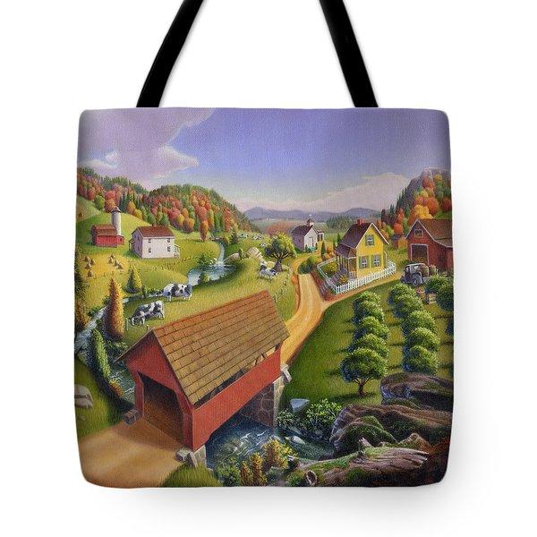 Folk Art Covered Bridge Appalachian Country Farm Summer Landscape - Appalachia - Rural Americana Tote Bag