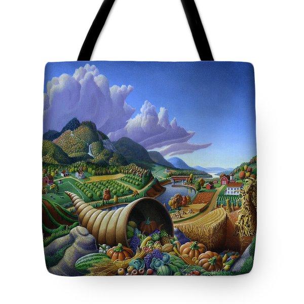 Horn Of Plenty - Cornucopia - Autumn Thanksgiving Harvest Landscape Oil Painting - Food Abundance Tote Bag