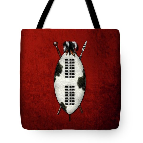 Zulu War Shield With Spear And Club On Red Velvet  Tote Bag