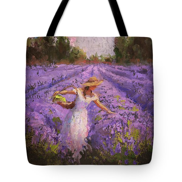 Woman Picking Lavender In A Field In A White Dress - Lady Lavender - Plein Air Painting Tote Bag by Karen Whitworth