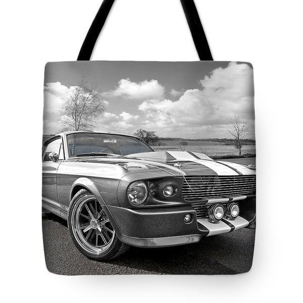 1967 Eleanor Mustang In Black And White Tote Bag