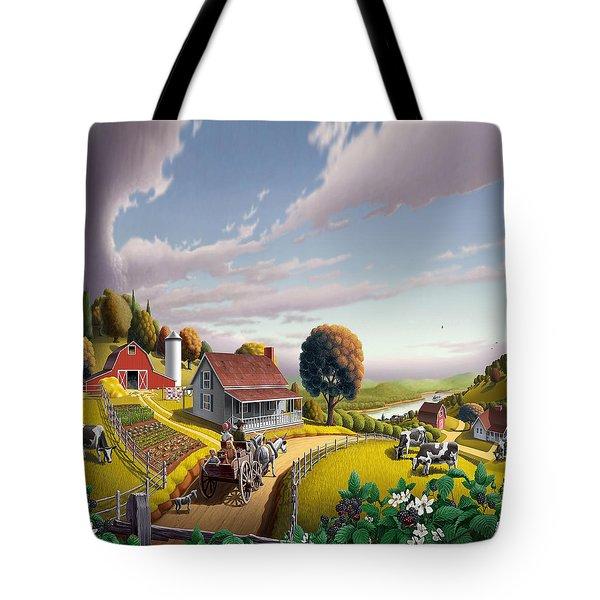 Appalachian Blackberry Patch Rustic Country Farm Folk Art Landscape - Rural Americana - Peaceful Tote Bag