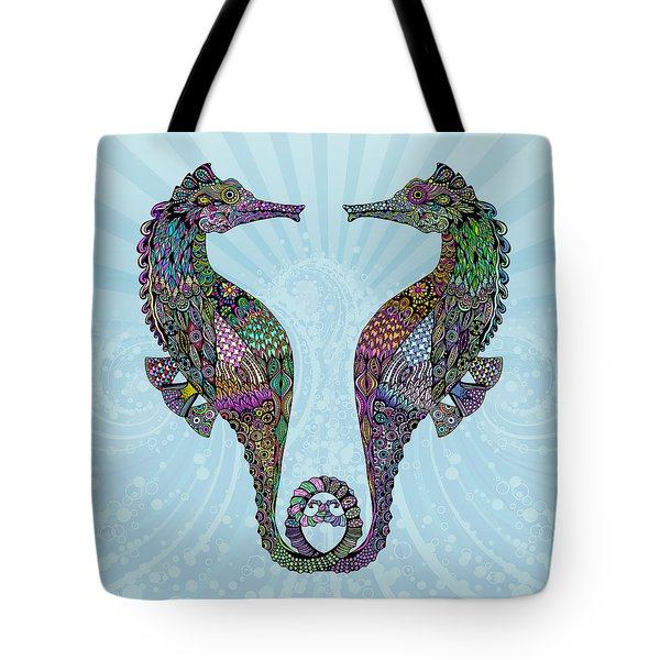 Tote Bag featuring the drawing Electric Seahorses by Tammy Wetzel