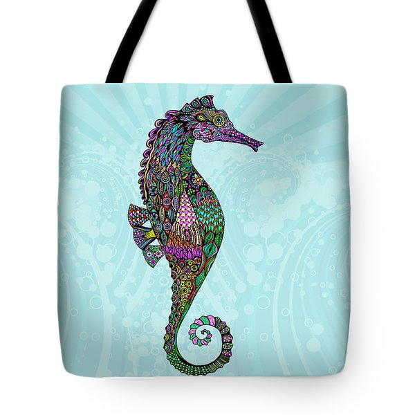 Tote Bag featuring the drawing Electric Lady Seahorse  by Tammy Wetzel