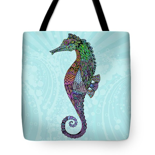 Tote Bag featuring the drawing Electric Gentleman Seahorse by Tammy Wetzel