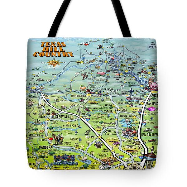 Texas Hill Country Cartoon Map Tote Bag