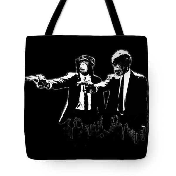 Divine Monkey Intervention - Pulp Fiction Tote Bag by Nicklas Gustafsson