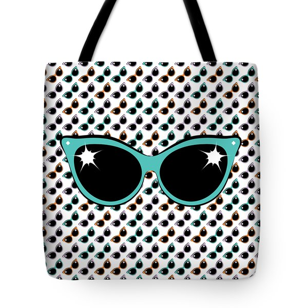 Retro Turquoise Cat Sunglasses Tote Bag
