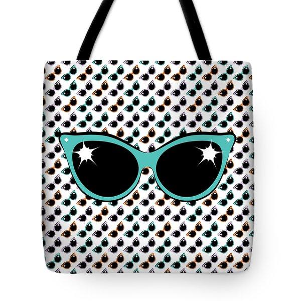 Retro Turquoise Cat Sunglasses Tote Bag