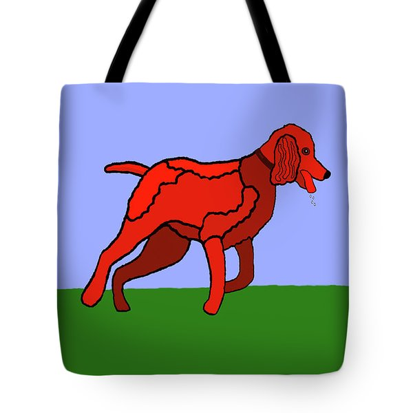 Cartoon Romping Miniature Apricot Poodle Tote Bag by Marian Cates