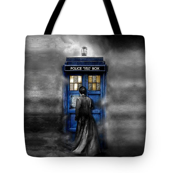 Mysterious Time Traveller With Black Jacket Tote Bag