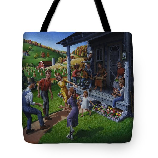 Porch Music And Flatfoot Dancing - Mountain Music - Appalachian Traditions - Appalachia Farm Tote Bag