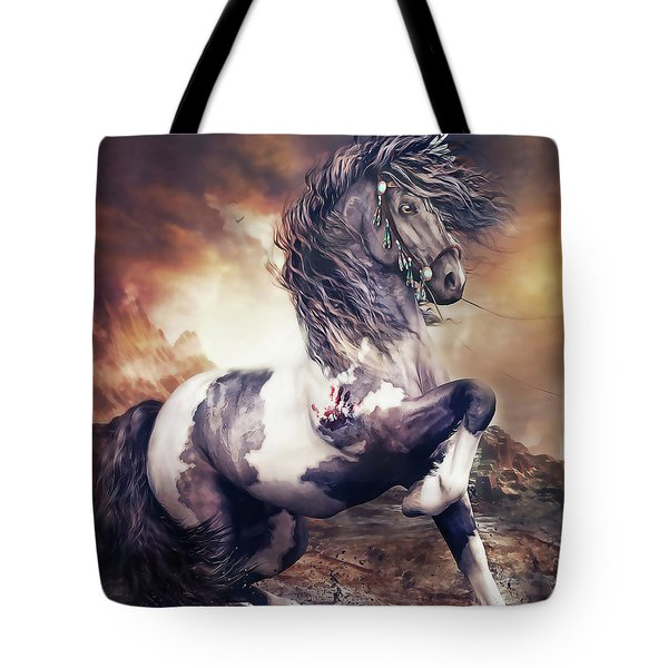 Apache War Horse Tote Bag