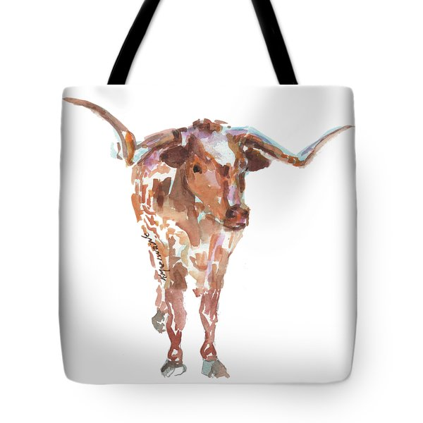 The Original Longhorn Standing Earth Quack Watercolor Painting By Kmcelwaine Tote Bag