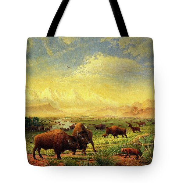 Buffalo Fox Great Plains Western Landscape Oil Painting - Bison - Americana - Historic - Walt Curlee Tote Bag