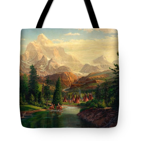 Indian Village Trapper Western Mountain Landscape Oil Painting - Native Americans Americana Stream Tote Bag