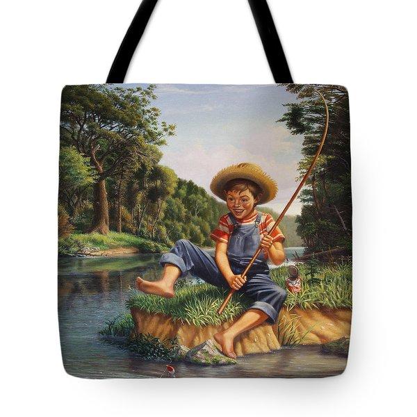 Boy Fishing In River Landscape - Childhood Memories - Flashback - Folkart - Nostalgic - Walt Curlee Tote Bag