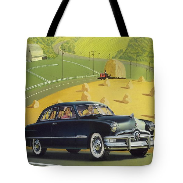 1950 Custom Ford Rustic Rural Country Farm Scene Americana Antique Car Watercolor Painting Tote Bag by Walt Curlee