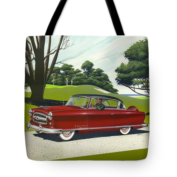 1953 Nash Rambler Car Americana Rustic Rural Country Auto Antique Painting Red Golf Tote Bag by Walt Curlee