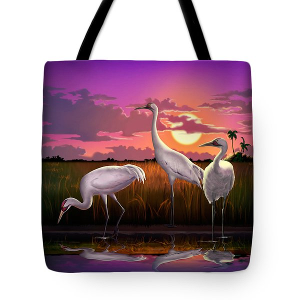 Whooping Cranes Tropical Florida Everglades Sunset Birds Landscape Scene Purple Pink Print Tote Bag by Walt Curlee
