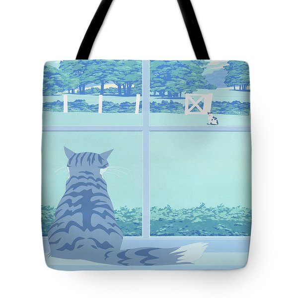 Abstract Cats Staring Stylized Retro Pop Art Nouveau 1980s Green Landscape Scene Painting Print Tote Bag