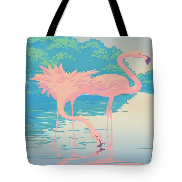 abstract Pink Flamingos retro pop art nouveau tropical bird 80s 1980s florida painting print Tote Bag