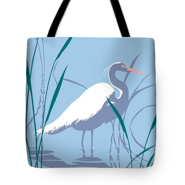 abstract Egret graphic pop art nouveau 1980s stylized retro tropical florida bird print blue gray  Tote Bag