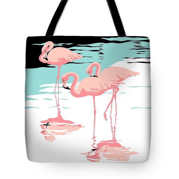 Pink Flamingos Tropical 1980s Abstract Pop Art Nouveau Graphic Art Retro Stylized Florida Print Tote Bag
