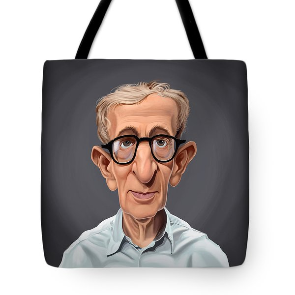 Tote Bag featuring the drawing Celebrity Sunday - Woody Allen by Rob Snow