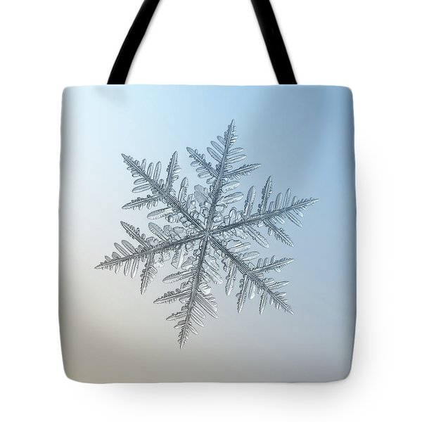 Tote Bag featuring the photograph Snowflake Photo - Silverware by Alexey Kljatov