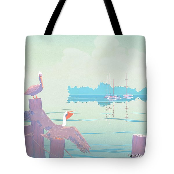 Abstract Pelicans Tropical Florida Seascape Sailboats Large Pop Art Nouveau 1980s Stylized Painting Tote Bag by Walt Curlee