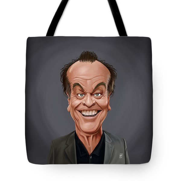 Tote Bag featuring the drawing Celebrity Sunday - Jack Nicholson by Rob Snow