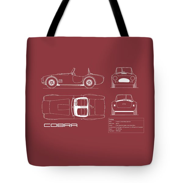 Ac Cobra Blueprint - Red Tote Bag
