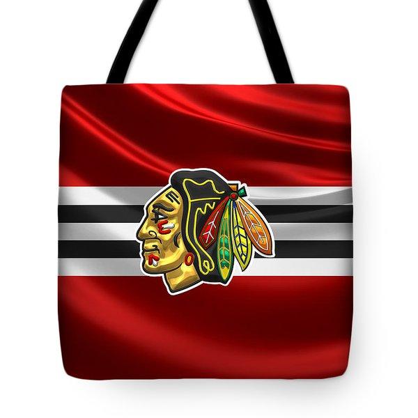 Chicago Blackhawks - 3 D Badge Over Silk Flag Tote Bag