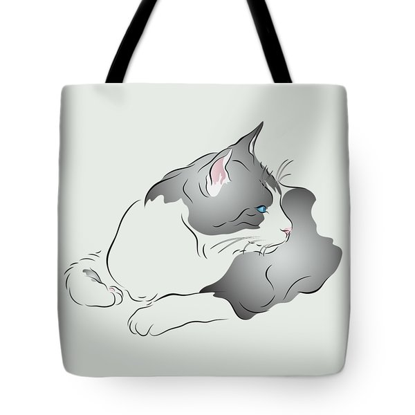 Grey And White Cat In Profile Graphic Tote Bag