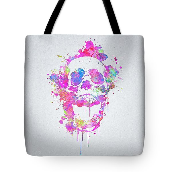 Cool And Trendy Pink Watercolor Skull Tote Bag