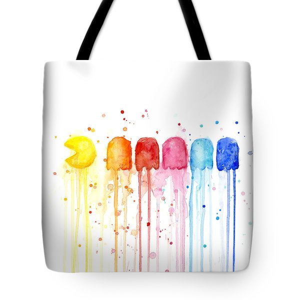 Pacman Watercolor Rainbow Tote Bag by Olga Shvartsur