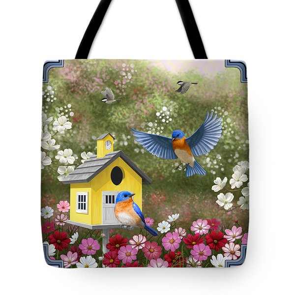Bluebirds And Yellow Birdhouse Tote Bag