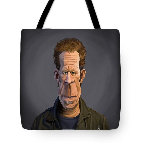 Tote Bag featuring the drawing Celebrity Sunday - Tom Waits by Rob Snow