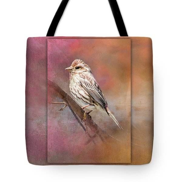 Female Sparrow On Branch Ginkelmier Inspired Tote Bag
