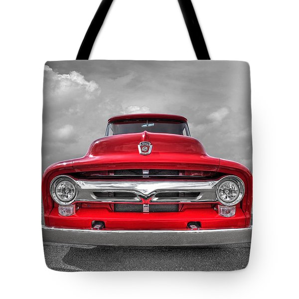 Red Ford F-100 Head On Tote Bag