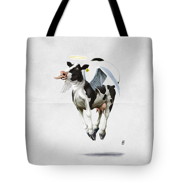 Tote Bag featuring the drawing Holy Cow Wordless by Rob Snow