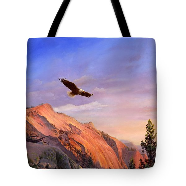 Flying American Bald Eagle Mountain Landscape Painting - American West - Western Decor - Bird Art Tote Bag