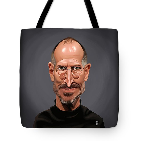 Tote Bag featuring the drawing Celebrity Sunday - Steve Jobs by Rob Snow