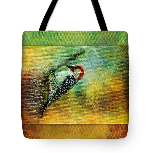 Woodpecker On Cherry Tree Tote Bag