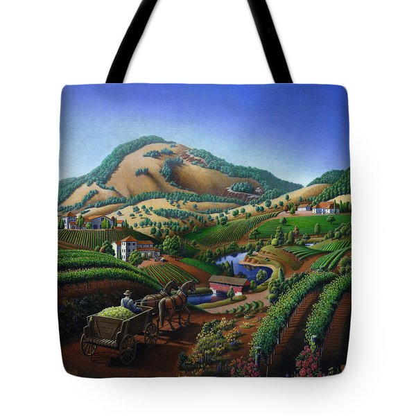 Old Wine Country Landscape - Delivering Grapes To Winery - Vintage Americana Tote Bag