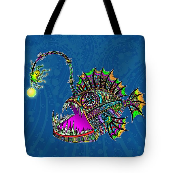 Tote Bag featuring the drawing Electric Angler Fish by Tammy Wetzel