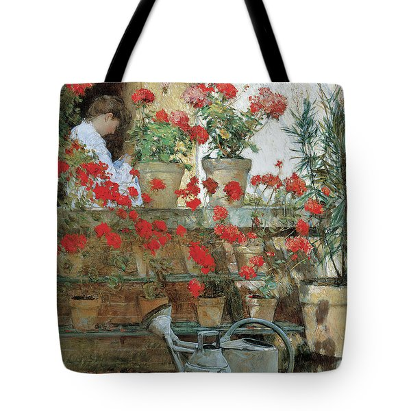 Red Geraniums Against A Sunny Wall Tote Bag